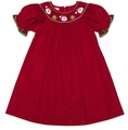 Petit Bebe by Anavini Infant / Toddler Girls Red Corduroy Smocked Santa Face Bishop