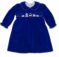 Petit Bebe by Anavini Infant / Toddler Girls Royal Blue Corduroy Smocked Nativity Dress - Long Sleeves