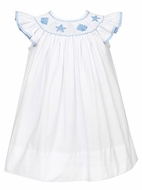 Petit Bebe by Anavini Infant / Toddler Girls Smocked Blue Seashells on White Bishop Dress