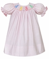 Petit Bebe by Anavini Infant / Toddler Girls Pink Stripes Smocked Colorful Easter Bunny Dress