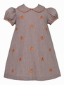 Anavini Baby / Toddler Girls Brown Gingham Embroidered Pumpkins Float Dress