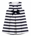 Florence Eiseman Baby / Toddler Girls Navy Blue / White Stripe Pique Dress