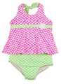 Florence Eiseman Girls Neon Pink / Green Floral Two Piece Swimsuit