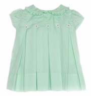 Proper Peony - Best Dressed Child Exclusive - Girls Pleated Dress with Rosebud Buttons - Mint Green
