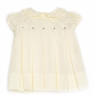 Proper Peony - Best Dressed Child Exclusive - Girls Pleated Dress with Rosebud Buttons - Yellow