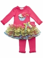 Rare Editions Baby Girls Fuchsia Birthday Cupcake Tiered Ribbon Tutu Set
