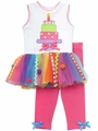 Rare Editions Baby Girls Multi Color Tiered Birthday Cake Tutu / Fuchsia Pink Leggings Set