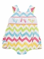 Rare Editions Baby Girls Rainbow Chevron Striped Smocked Flip Flops Ruffle Bubble