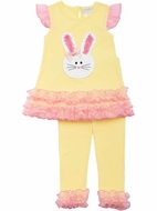 Rare Editions / Emily Rose Girls Yellow Knit Easter Bunny Face Leggings Outfit with Pink Mesh Ruffles
