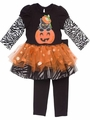 Rare Editions Girls Black Zebra / Orange Halloween Pumpkin / Cat Tutu Set
