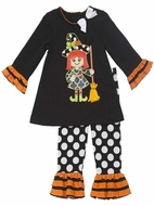 Rare Editions Girls Black / White Dots Leggings with Halloween Witch Tunic