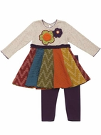 Rare Editions Girls Fall Flower Applique Dress with Purple Leggings
