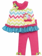 Rare Editions Girls Fuchsia Pink / Turquoise Chevron Easter Basket Pants Set