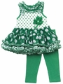 Rare Editions Girls Green / White Dots St. Patrick's Day Tutu / Leggings Outfit