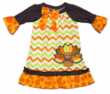 Rare Editions Girls Orange / Lime Green / Brown Chevron Thanksgiving Turkey Dress