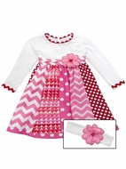 Rare Editions Girls Pink Chevron / Red Dots / Valentines Hearts Dress
