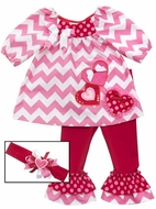Rare Editions Girls Pink Chevron / Red Dots Valentines Hearts Pants Set