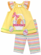 Rare Editions Girls Yellow Easter Basket with Eggs Top & Pastel Striped Leggings