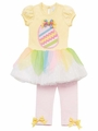 Rare Editions Girls Yellow / Pink Easter Egg Tutu / Leggings Outfit