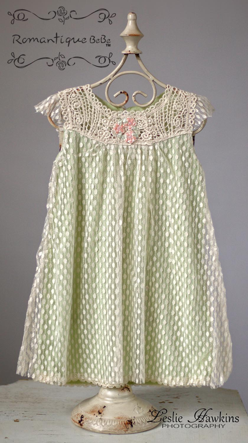Romantique Bebe Girls Dotted Lace Overlay Dress With