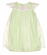 Romantique Bebe Girls Dotted Lace Overlay Dress with Crochet Yoke - Spring Green