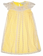 Romantique Bebe Girls Dotted Lace Overlay Dress with Crochet Yoke - Yellow
