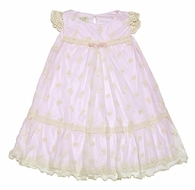 Romantique Bebe Girls Lace Overlay Vintage Rose Bow Dress - Pink