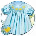 Rosalina Baby Girls Smocked Yellow Easter Chicks on Aqua Blue Bishop Dress