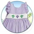 Rosalina Girls Purple Smocked Mardi Gras Fleur de Lis Sun Dress