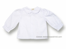 Rosalina Girls White Blouse with Ruffle Collar - LONG Sleeves