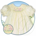 Rosalina Girls Yellow Smocked Easter Bunnies Bishop Dress
