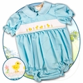Rosalina Infant Girls Smocked Yellow Easter Chicks on Aqua Blue Bubble