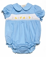 Rosalina Infant Girls Smocked Yellow Easter Chicks on Blue Bubble