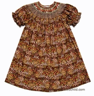 Rosalina Toddler Girls Brown Fall Floral Smocked Bishop Dress