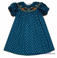 Rosalina Toddler Girls Teal Polka Dot Smocked Harvest Scarecrow Bishop Dress
