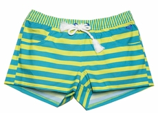 Roxy Girl Turquoise Blue / Lime Green Striped All Aboard Board Shorts