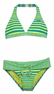 Roxy Girl Turquoise Blue / Lime Green Striped All Aboard Halter Swimsuit