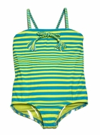 Roxy Girl Turquoise Blue / Lime Green Striped All Aboard One Piece Swimsuit