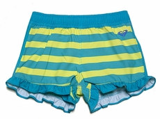 Roxy Girl Turquoise Blue / Lime Green Striped All Aboard Ruffle Board Shorts
