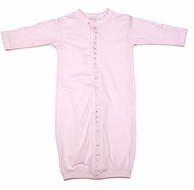 Royal Baby Newborn Girls Convertible Gown / Romper - Pink with Hearts Trim