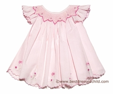 Sara Louise Baby Girls Pink Smocked Scallop Hem Dress with Flutter Sleeves & Bloomers