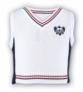 Sara Louise Dani Boys White V-Neck Nautical Sweater Vest with Red / Navy Blue Trim and Emblem