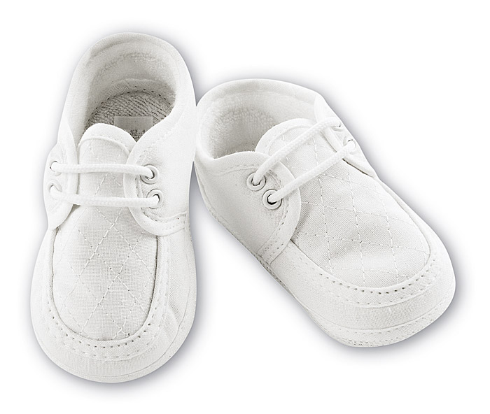 Sarah Louise Baby Boys Quilted Shoes – Ivory or White