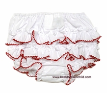 Sara Louise Infant Baby Girls White Ruffles Diaper / Panty Cover / Bloomers - Red Picot Edge
