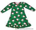Sara's Prints Girls Christmas Nightgown - Green with Santa Claus Faces Print