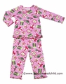 Sara's Prints Girls Pink Christmas Presents Ruffle Pajamas PJ's