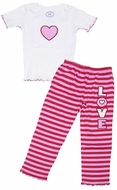 Sara's Prints Girls Pink / Red Striped Love Pajamas with Valentine Heart Top
