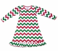 Sara's Prints Girls Red / Green Chevron Striped Christmas Nightgown