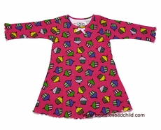 Sara's Prints Todd Parr Girls Hot Pink Happy Birthday Cupcakes Nightgowns