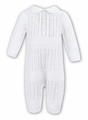 Sarah Louise Baby Boys Dressy White Cable Sweater Knit Romper with Collar
